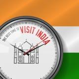 La mejor época para la visita la India Reloj blanco del vector con lema Fondo indio del indicador Reloj analogico Icono de Taj Ma ilustración del vector