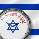 La mejor época para la visita Israel Reloj blanco del vector con lema Fondo israelí de la bandera Reloj analogico Estrella de Dav ilustración del vector