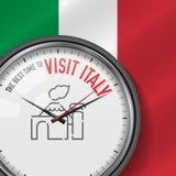 La mejor época para la visita Italia Reloj blanco del vector con lema Fondo italiano de la bandera Reloj analogico Icono de Vesuv ilustración del vector