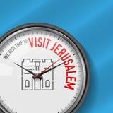 La mejor época para la visita Jerusalén Reloj blanco del vector con lema Fondo del cielo azul Reloj analogico Viejo icono de la c libre illustration