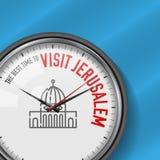 La mejor época para la visita Jerusalén Reloj del vector con lema Fondo del cielo azul Reloj analogico Bóveda del icono de la roc libre illustration