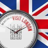 La mejor época para la visita Londres Reloj del vector con lema Fondo británico del indicador Reloj analogico Westminster Abbey I stock de ilustración