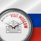 La mejor época para la visita Moscú Reloj del vector con lema Fondo ruso de la bandera Reloj analogico Icono del teatro de Bolsho libre illustration