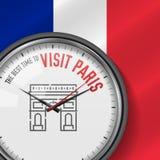 La mejor época para la visita París Reloj blanco del vector con lema Fondo francés de la bandera Reloj analogico Icono del arco t stock de ilustración
