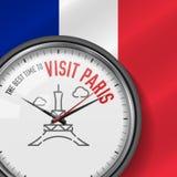 La mejor época para la visita París Reloj blanco del vector con lema Fondo francés de la bandera Reloj analogico Icono de la torr libre illustration