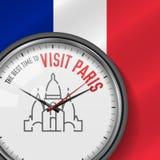 La mejor época para la visita París Reloj del vector con lema Fondo francés de la bandera Reloj analogico Icono de la basílica de stock de ilustración