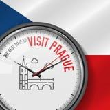 La mejor época para la visita Praga Reloj blanco del vector con lema Fondo checo de la bandera Reloj analogico icono del puente d libre illustration
