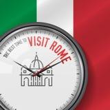 La mejor época para la visita Roma Reloj del vector con lema Fondo italiano de la bandera Reloj analogico Icono de la basílica de stock de ilustración