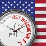 La mejor época para la visita Washington, D C Reloj numerado vector Fondo del indicador de los E Reloj analogico Icono de Washing stock de ilustración