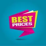 La mejor bandera de la burbuja de los precios en colores vibrantes Fotografía de archivo