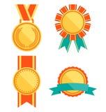 La mejor colección plana de las medallas de las etiquetas de la calidad superior de oro stock de ilustración