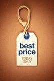 La mejor etiqueta de la etiqueta del vintage del precio hoy solamente fotografía de archivo