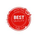 La mejor icono retro aislado de la etiqueta engomada del Grunge del sello de calidad etiqueta roja stock de ilustración