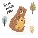 La mejor impresión de la mamá nunca con los osos lindos - madre y bebé stock de ilustración