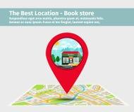 La mejor librería de la ubicación ilustración del vector