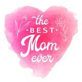 La mejor mamá nunca Tarjeta con las flores y las letras Imagen de archivo libre de regalías