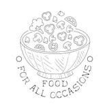 La mejor muestra blanco y negro dibujada del servicio del abastecimiento mano con la plantilla del diseño del cuenco de ensalada  libre illustration