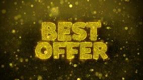 La mejor oferta desea la tarjeta de felicitaciones, invitación, fuego artificial de la celebración