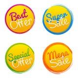 La mejor oferta, venta estupenda, oferta especial y marcas mega del vector de la venta stock de ilustración