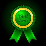 La mejor opción de la etiqueta verde con vector de las cintas Foto de archivo