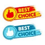 La mejor opción y pulgar encima de la etiqueta de las muestras, del amarillo, roja y azul dibujado Foto de archivo
