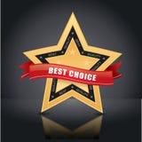 La mejor opción, emblema de la estrella del oro Imagen de archivo libre de regalías
