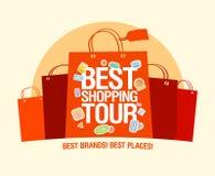 La mejor plantilla del diseño del viaje de las compras. Imagen de archivo libre de regalías