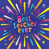 La mejor tarjeta de felicitación del profesor nunca ilustración del vector