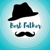 La mejor tarjeta del padre para los hombres con el bigote stock de ilustración