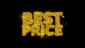 La mejor tipografía del precio escrita con los fuegos artificiales de oro de las chispas de las partículas almacen de video