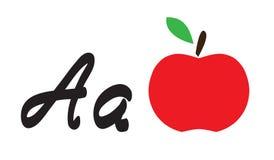 La mela di vettore e segna la a con lettere Fotografia Stock