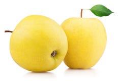 La mela gialla matura fruttifica con la foglia isolata su bianco Immagini Stock