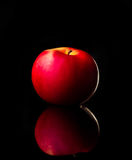 La mela rossa fresca con le goccioline dell'acqua contro la riflessione nera del fondo cade il movimento fresco di azione della s Fotografie Stock