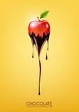 La mela rossa ha immerso in cioccolato fondente di fusione, la frutta, il concetto di ricetta della fonduta, trasparente, illustr Immagine Stock