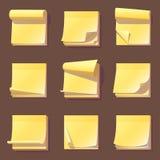 La memoria appiccicosa dell'ufficio giallo nota lo spazio in bianco adesivo dell'appunto della carta dell'autoadesivo dell'illust Fotografia Stock Libera da Diritti