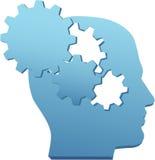 La mente de la innovación piensa el engranaje de la tecnología cortado Imagenes de archivo