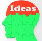 La mente de las ideas muestra pensamientos o creatividad de la mejora Imagen de archivo