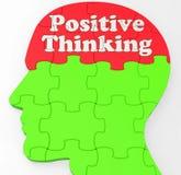 La mente di pensiero positiva mostra l'ottimismo o la credenza Fotografia Stock Libera da Diritti