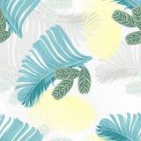 La menthe d'été et la forêt tropicale bleue laisse à humeur lumineuse le modèle sans couture pour le tissu de fashoin, livre de p Photographie stock