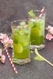 La menthe de Matcha a glacé le thé Photos libres de droits