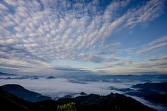 La mer du brouillard avec les forêts et la vallée de montagnes, belle dans le paysage de nature, Doi Thule, province de Tak, Thaï images stock