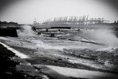 La Mer du Nord de marée de tempête Images libres de droits