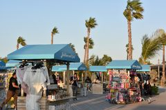 La Mer in Dubai, UAE. It is a new beachfront district with shopping and restaurants in Jumeirah stock photography