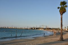 La Mer in Dubai, UAE. It is a new beachfront district with shopping and restaurants in Jumeirah stock images
