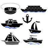 La mer embarque des silhouettes Icône d'ancre Capitaine Hat Illustration Stock