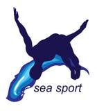 La mer folâtre le logo Images libres de droits