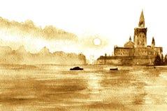 La mer, le ciel, les bâtiments sur l'horizon - le paysage L'affiche, Photo libre de droits
