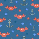 La mer marche en crabe le modèle sans couture d'étoiles d'ancres Illustration de vecteur Image libre de droits