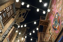 La Mer - New Popular Area in Dubai. Night Scene 2 stock photography