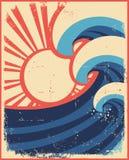 La mer ondule l'affiche. illustration de vecteur